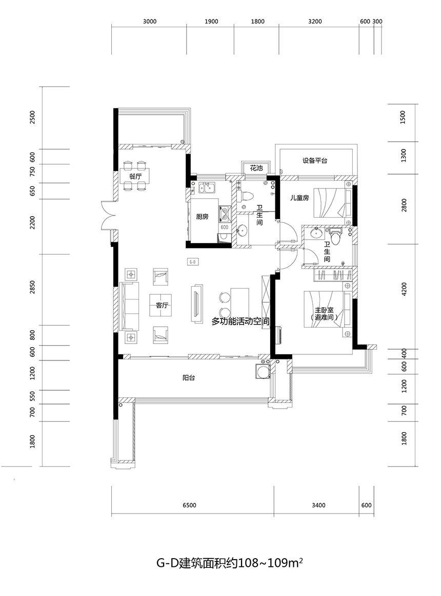 文一云溪湾G-D3室2厅108平米
