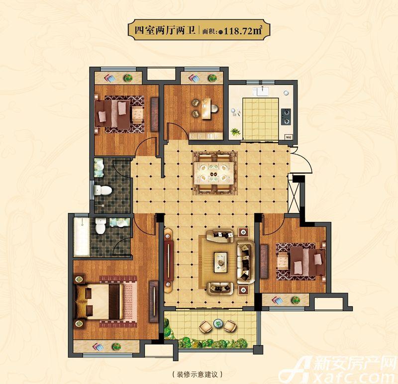中辰一品18#4室2厅118.72平米