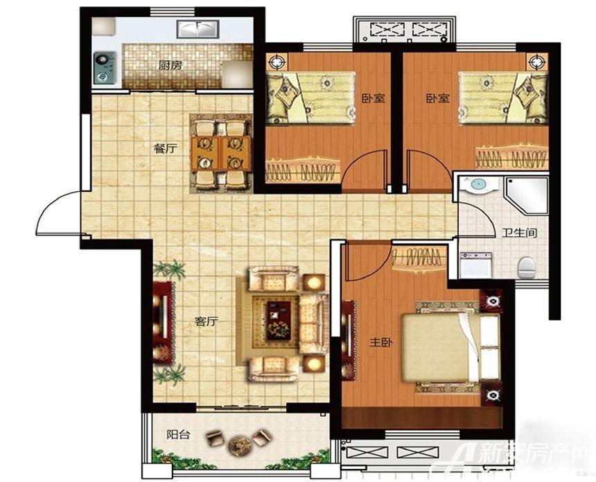 保利鑫城H33室2厅99平米
