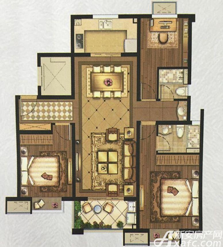 美的工润·明湖B3室2厅115平米