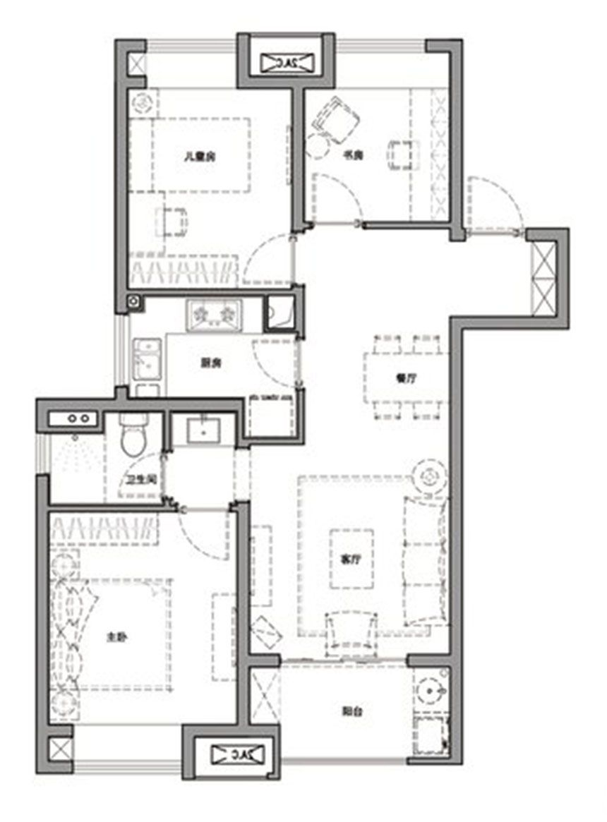 万科·尚都会A3室2厅89平米