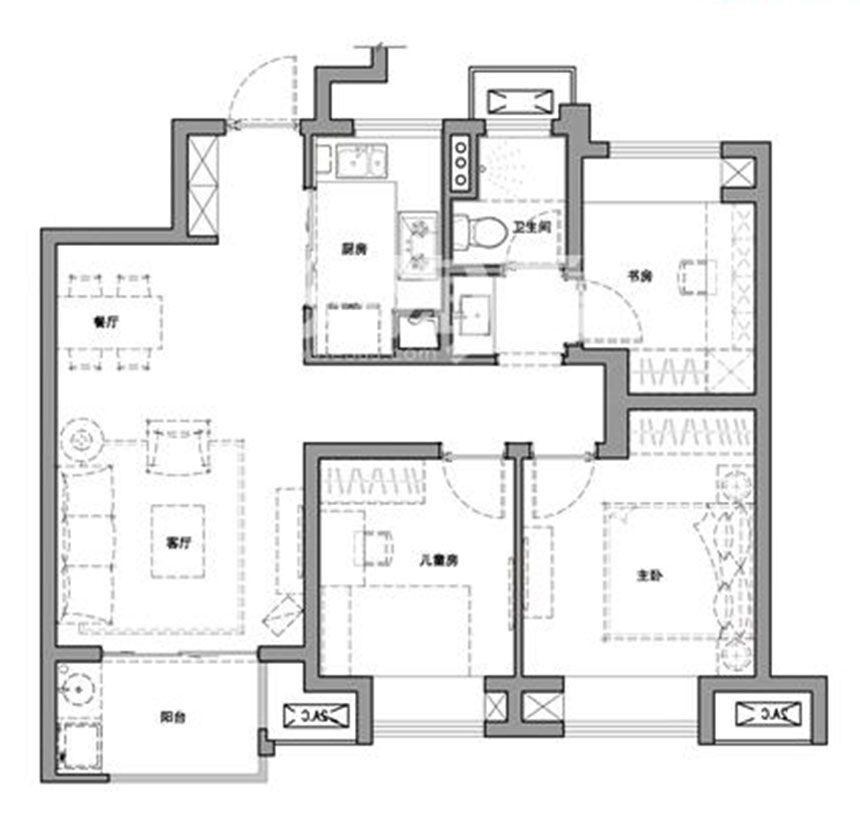 万科·尚都会B3室2厅89平米