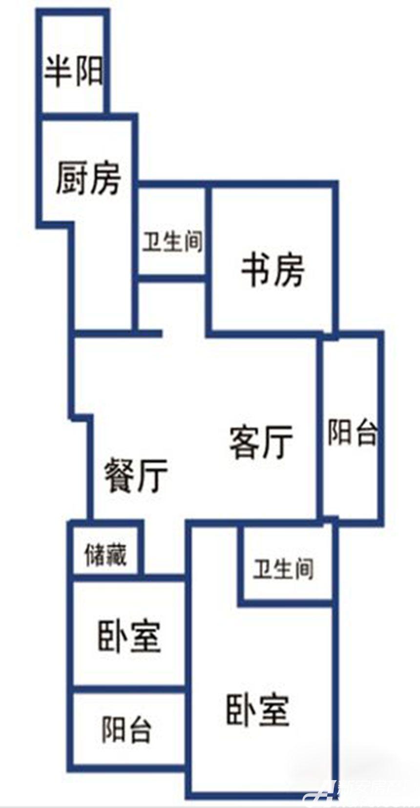 提香湾二期121㎡户型3室2厅121平米