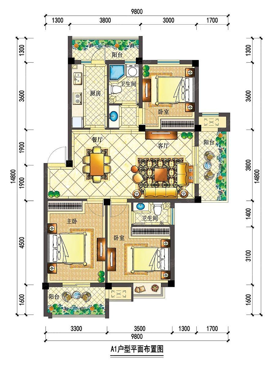 宇业依云红郡28#30#户型一3室2厅105平米