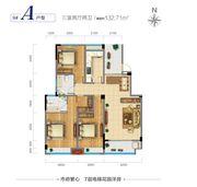 广源·缤纷城9#A户型3室2厅132.71㎡