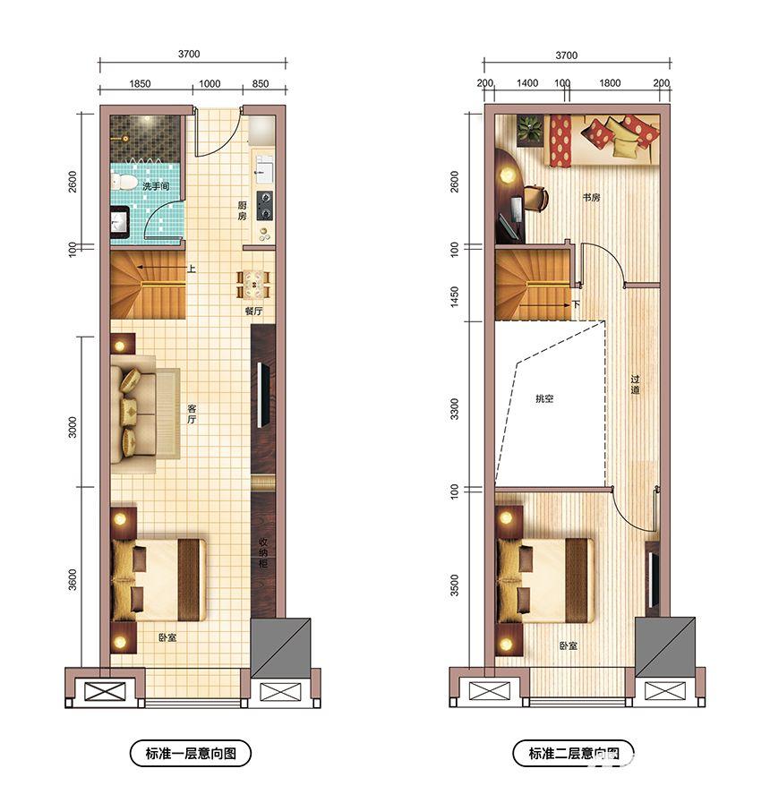 文一铂金中心55㎡户型3室1厅55平米