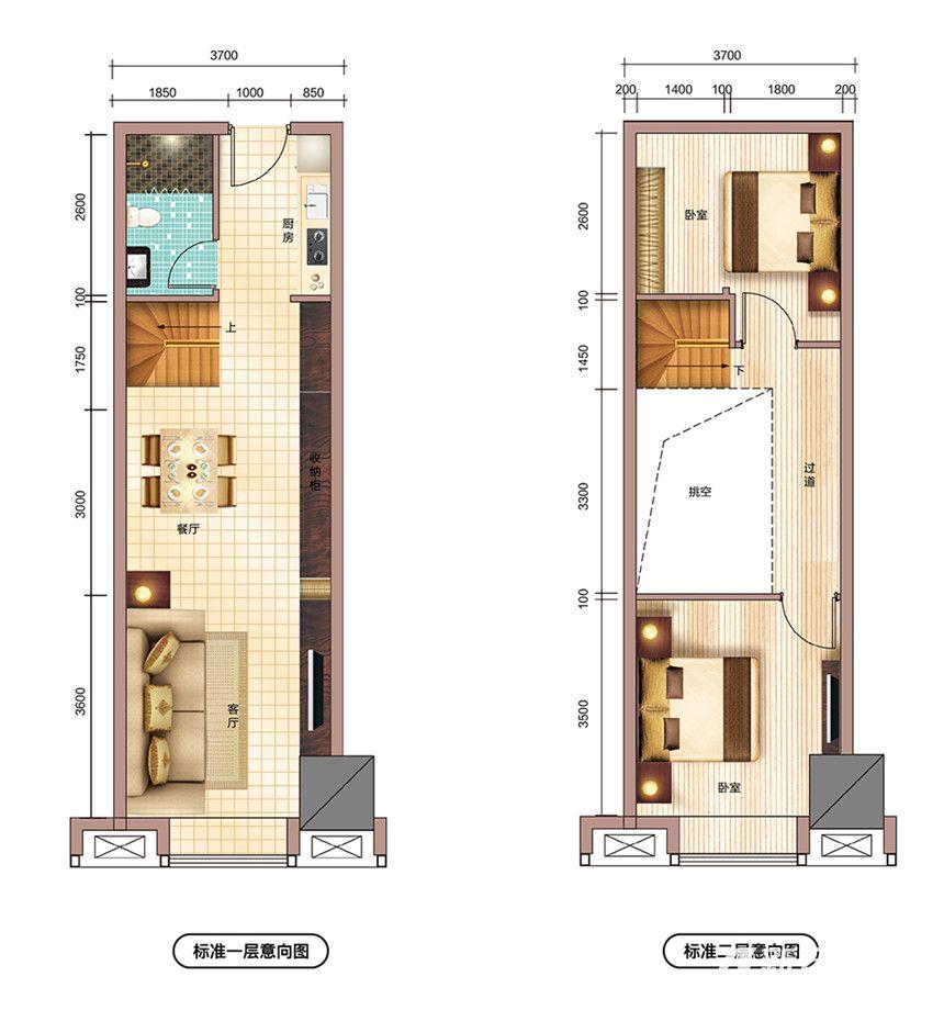 文一铂金中心55㎡户型2室1厅55平米