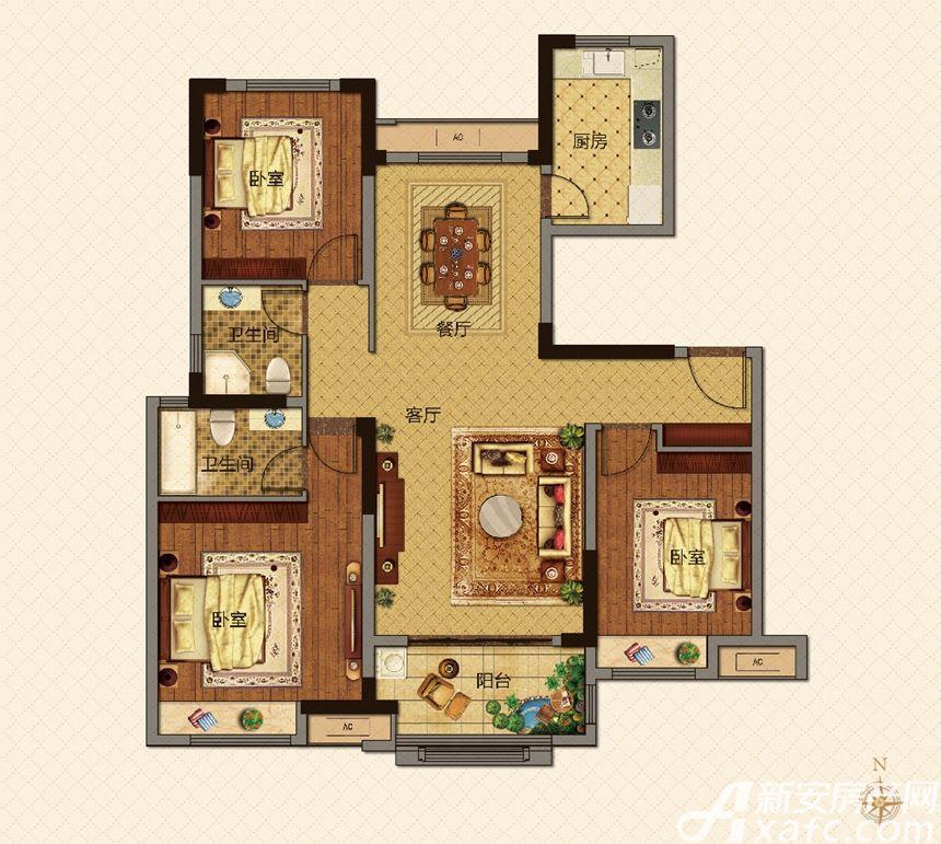 美的城A户型118㎡3室2厅118平米