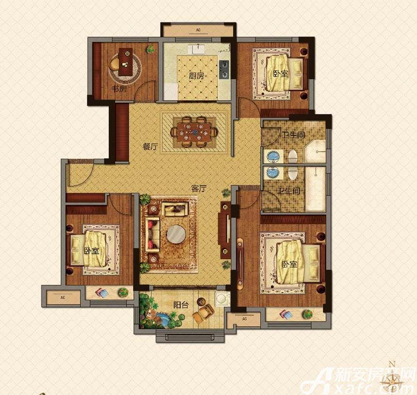 美的城B户型129㎡4室2厅129平米