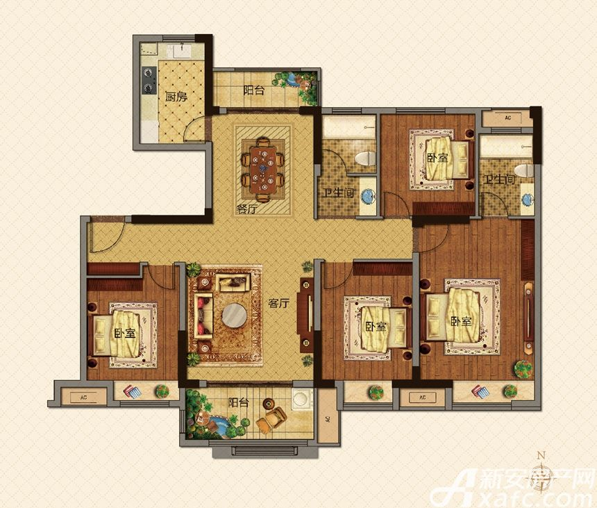 美的城C户型136㎡4室2厅136平米