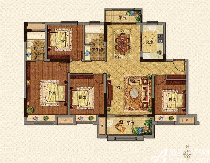 美的城D户型142㎡4室2厅142平米