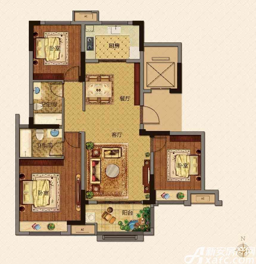 美的城E户型118㎡3室2厅118平米