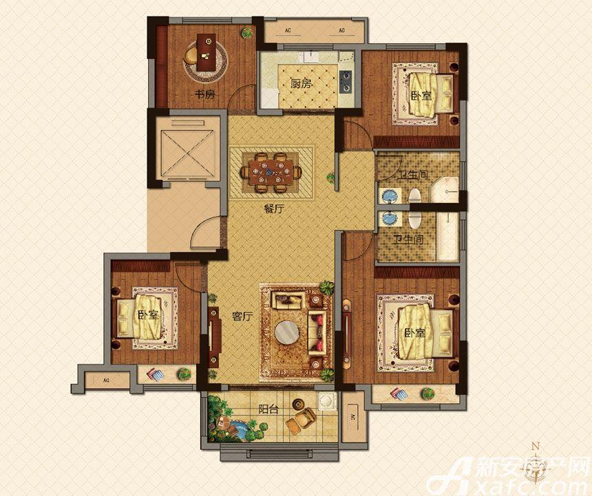 美的城F户型129㎡4室2厅129平米