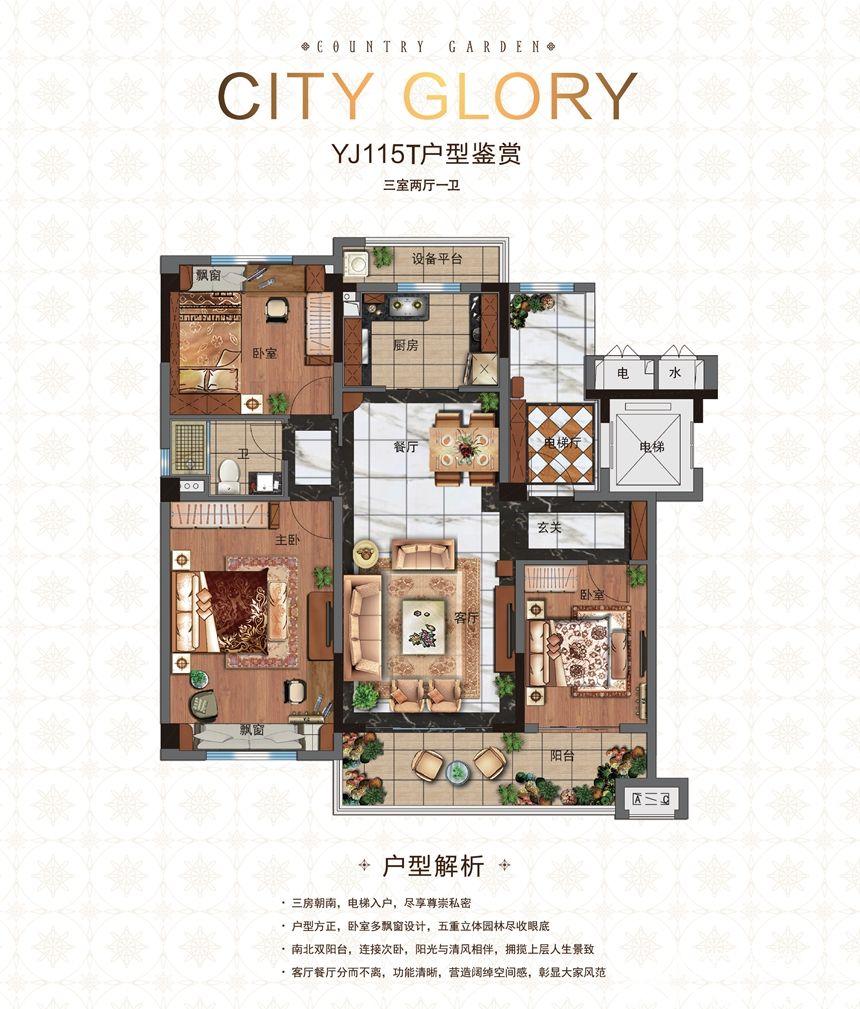 碧桂园城市之光YJ115T3室2厅115平米