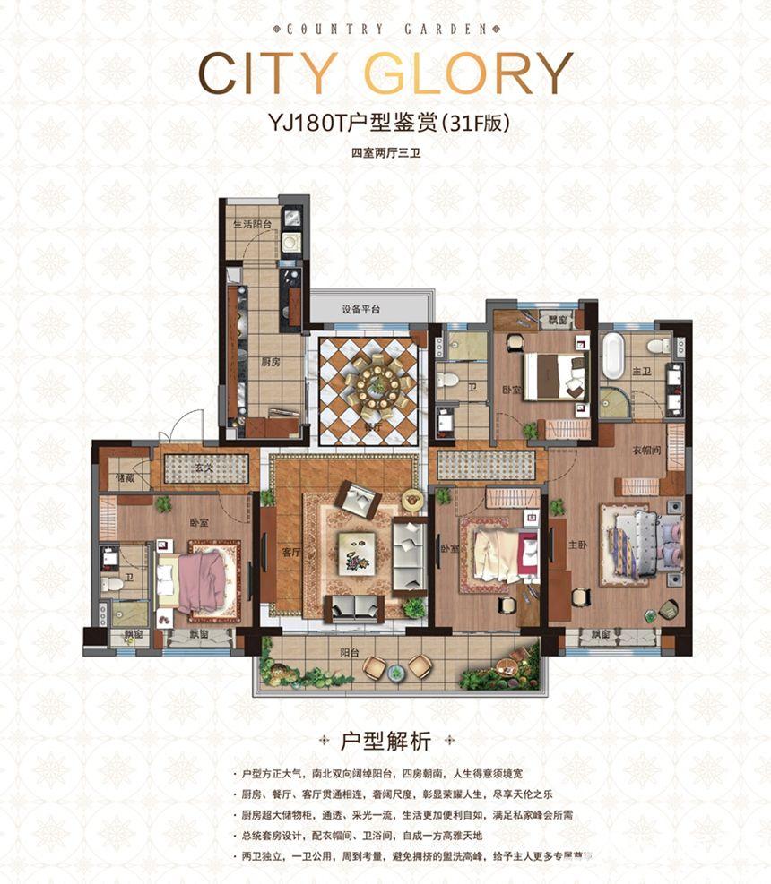 碧桂园城市之光YJ180T(31F)4室2厅180平米