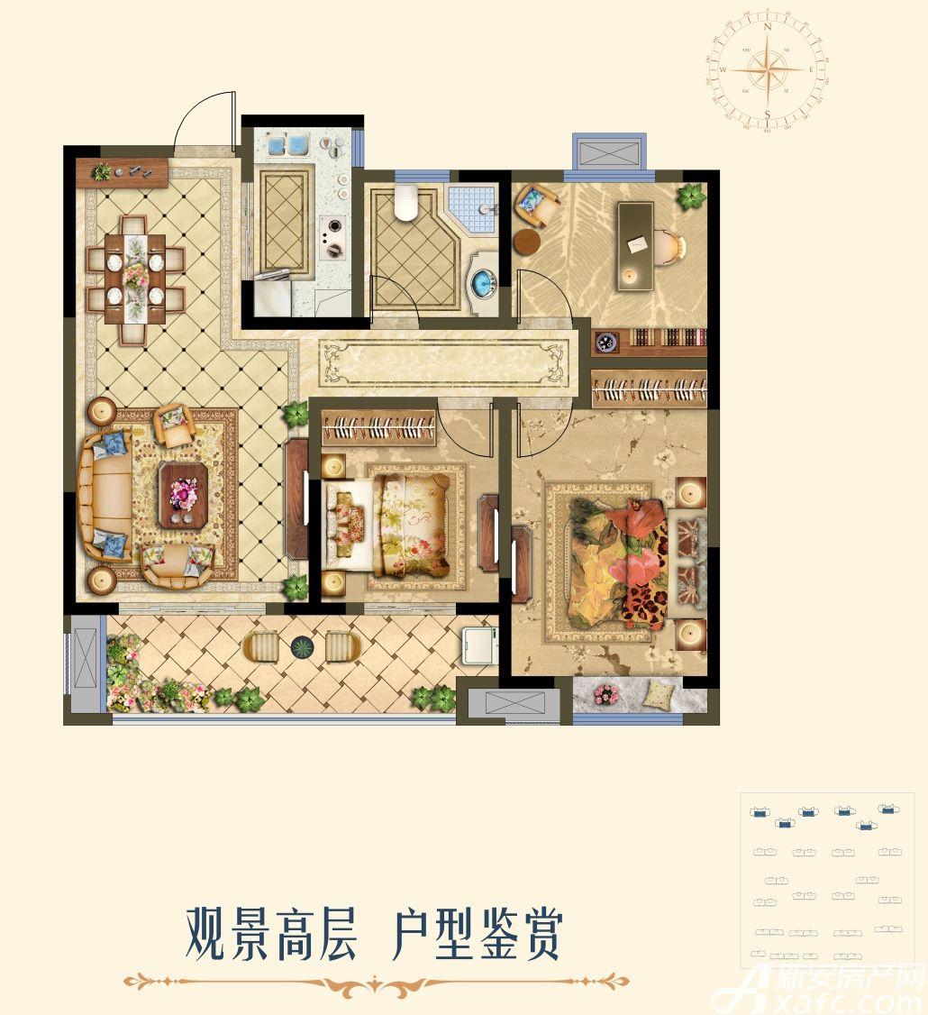 国购·名城B高层户型3室2厅108平米