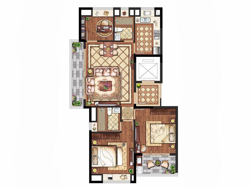 置地皖江府A户型(小高层)3室2厅119平米