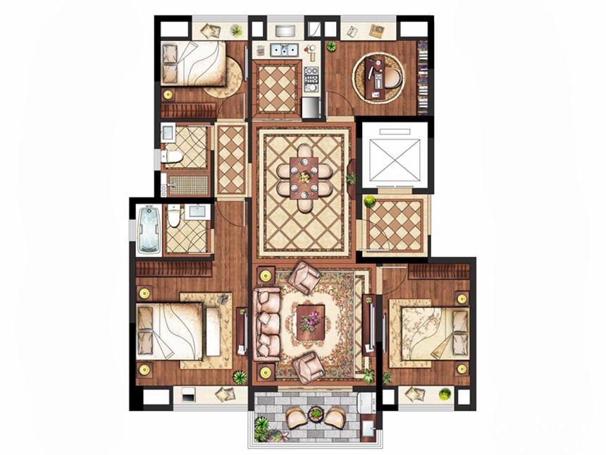 置地皖江府C户型(小高层)4室2厅133平米