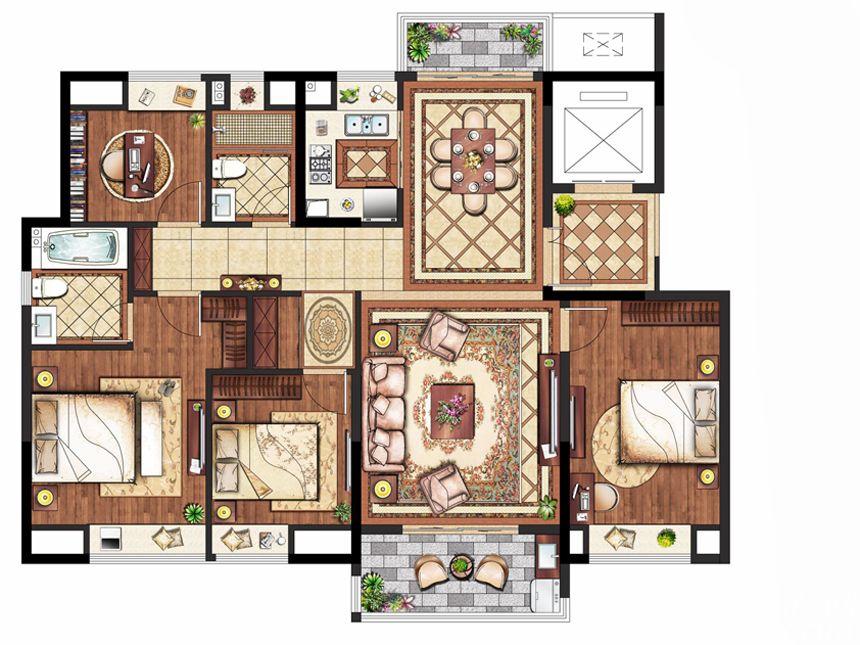 置地皖江府E户型(小高层)4室2厅143平米