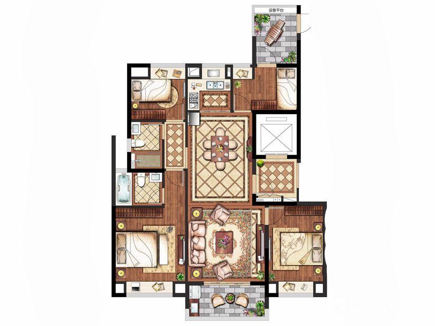置地皖江府D户型(高层)4室2厅133平米