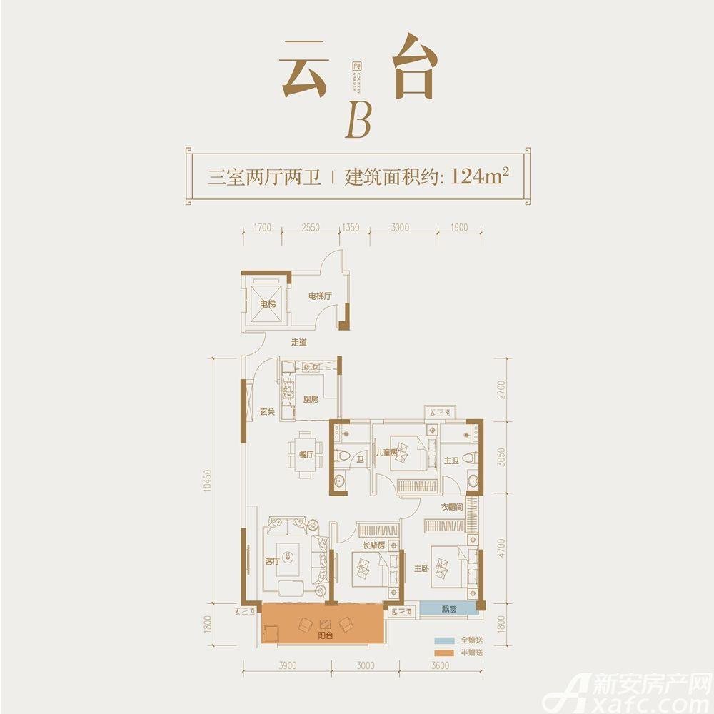 碧桂园中南·双玺B户型3室2厅124平米