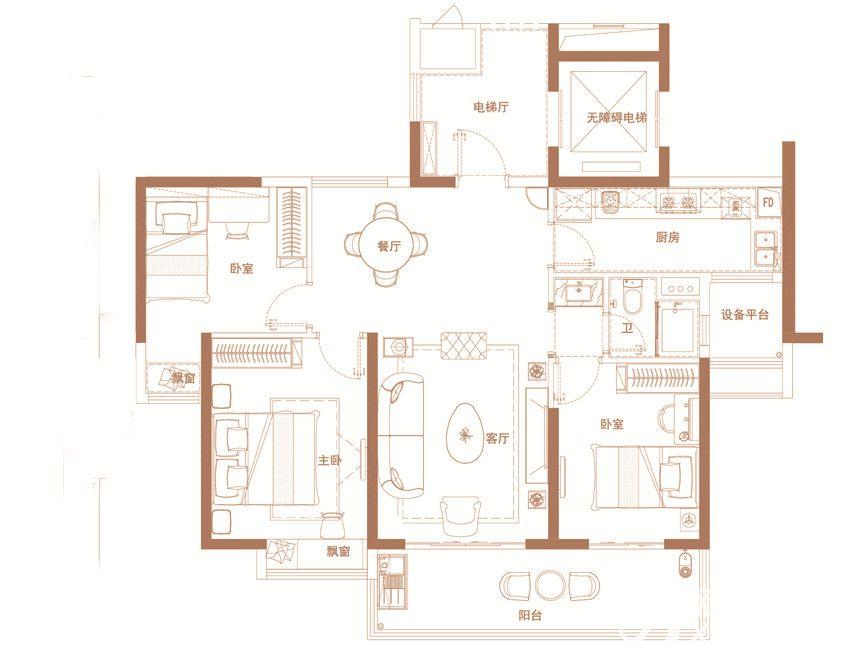 碧桂园·时代之光YJ118-B3室2厅119平米