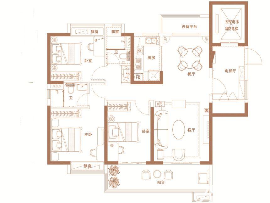 碧桂园·时代之光YJ118A3室2厅130平米