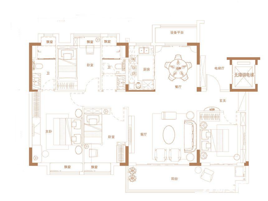 碧桂园·时代之光YJ140T-64室2厅149平米