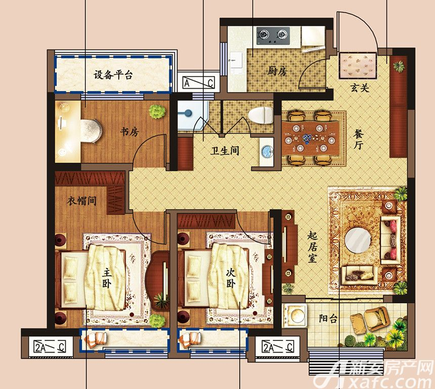 东方樾府B2户型3室2厅92平米