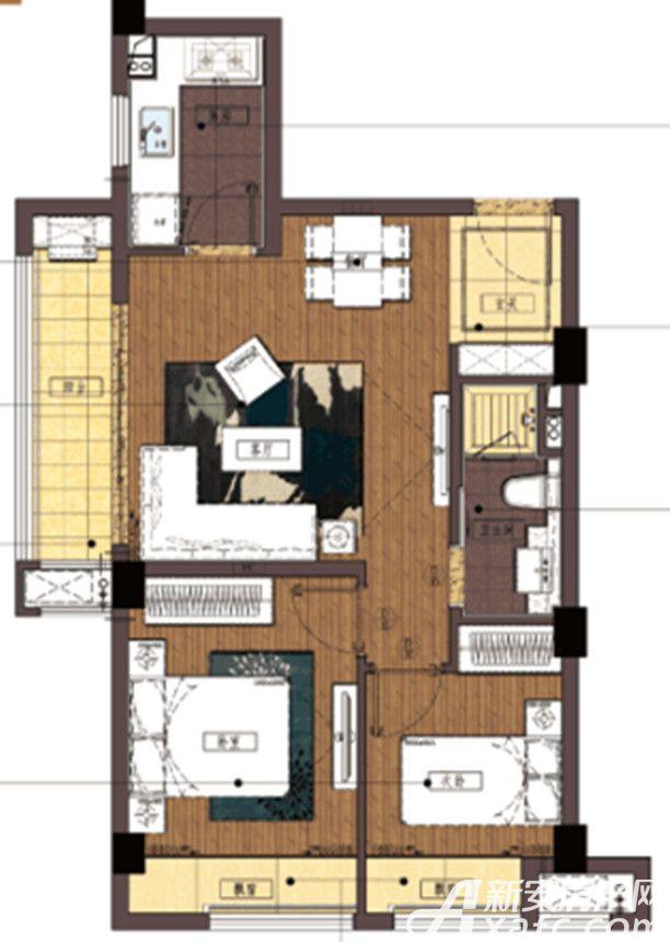 信达蓝湖郡A户型2室1厅72平米
