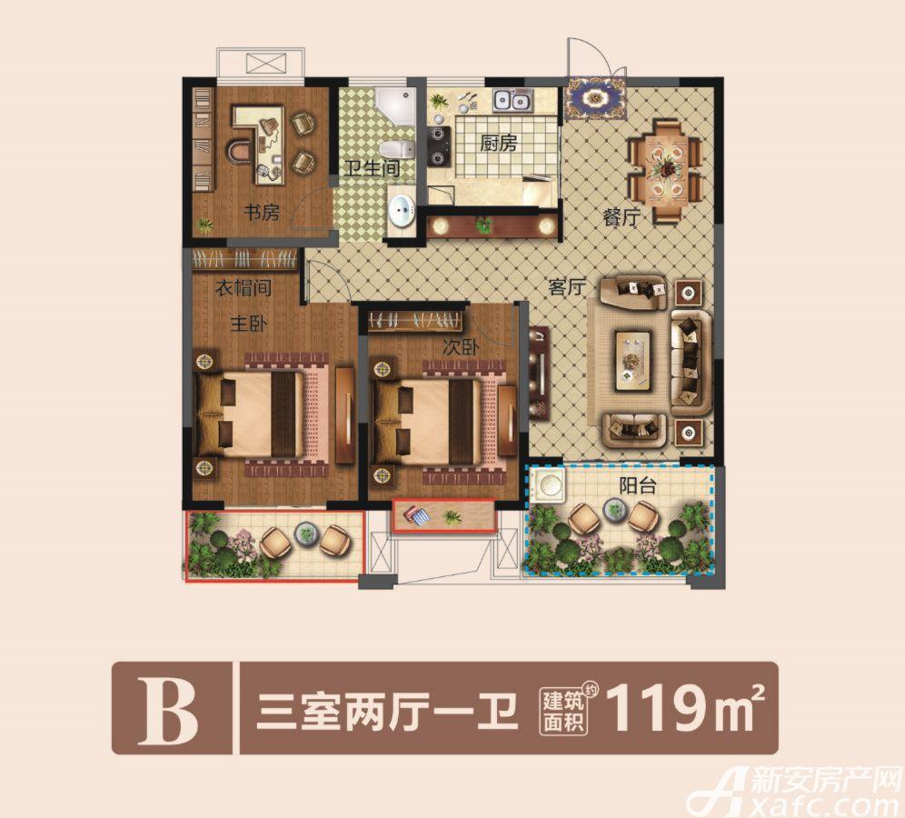 城乡金色年华B3室2厅119平米