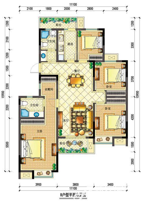 宇业依云红郡34#B户型4室2厅144.27平米