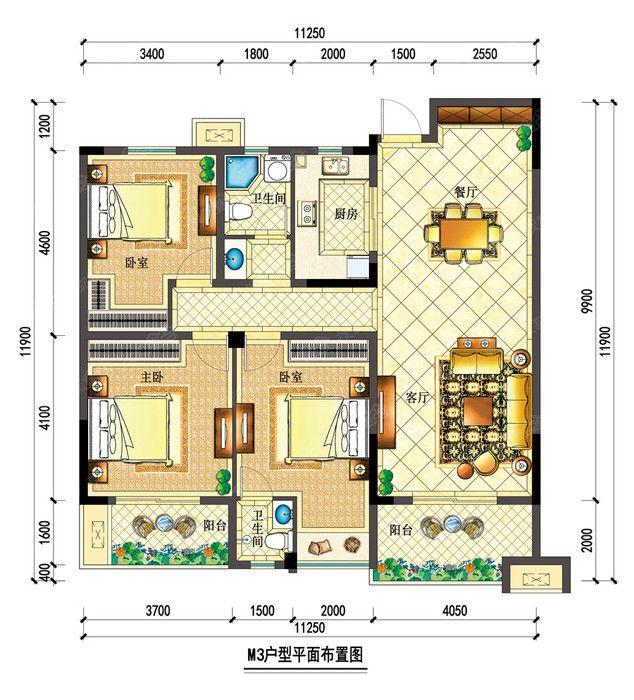 宇业依云红郡34#M3户型3室2厅134.13平米