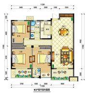 宇业依云红郡34#M3户型3室2厅134.13㎡