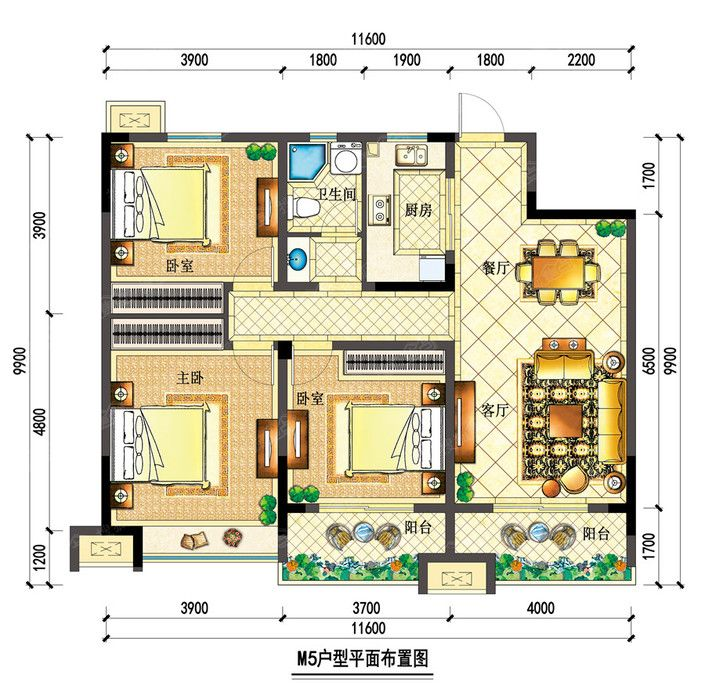 宇业依云红郡34#M5户型3室2厅119.88平米