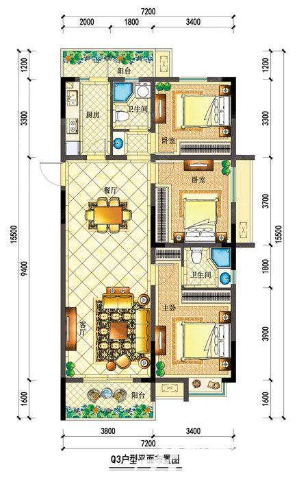 宇业依云红郡34#Q3户型3室2厅115.63平米