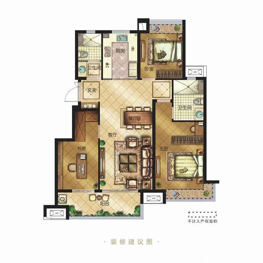 金科博翠天辰Y1户型3室2厅116平米