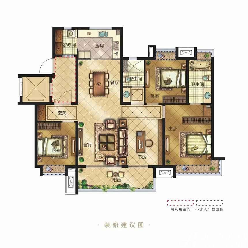 金科博翠天辰Y2户型4室2厅143平米