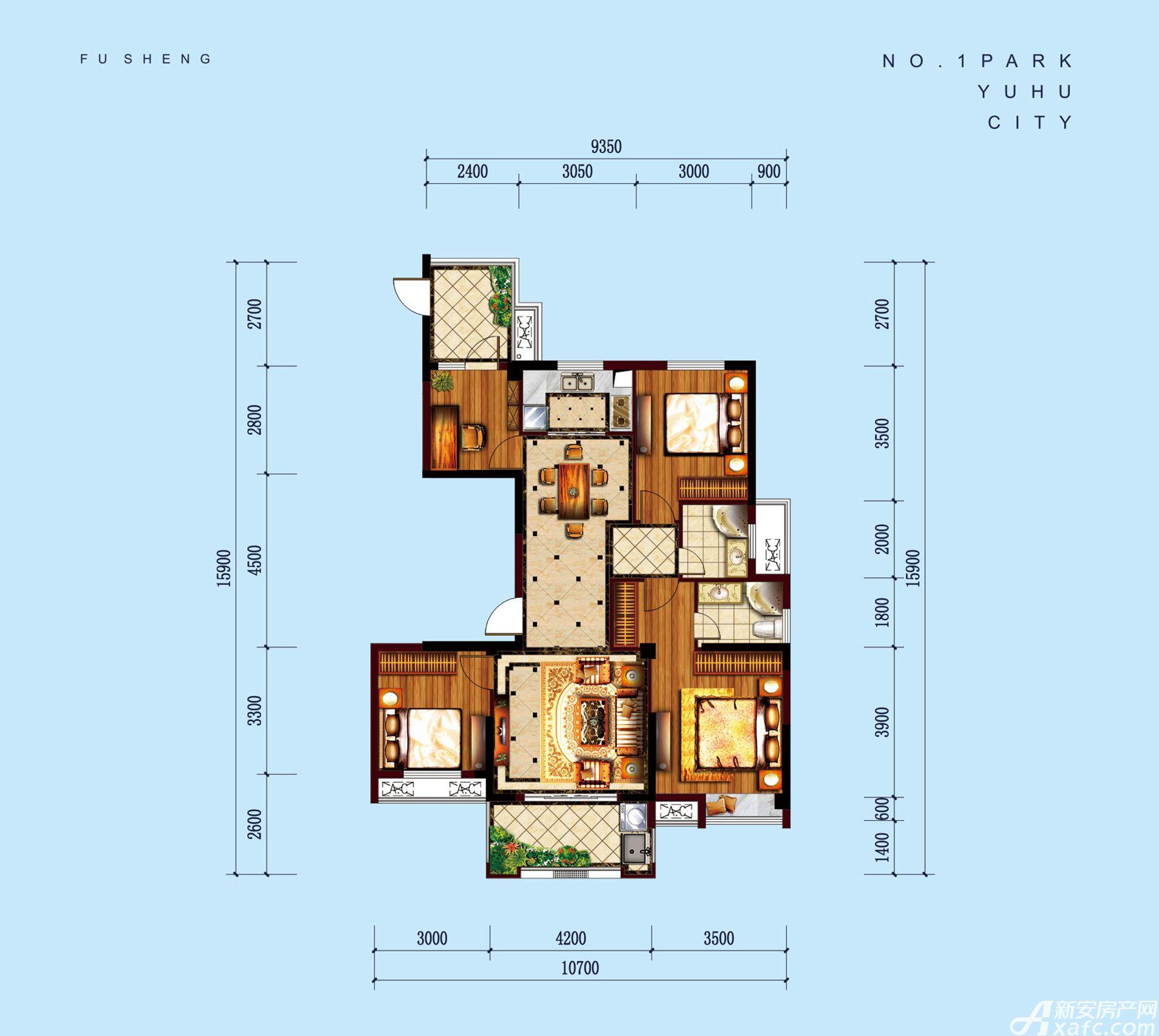 公园道B区御湖P4室2厅128.79平米