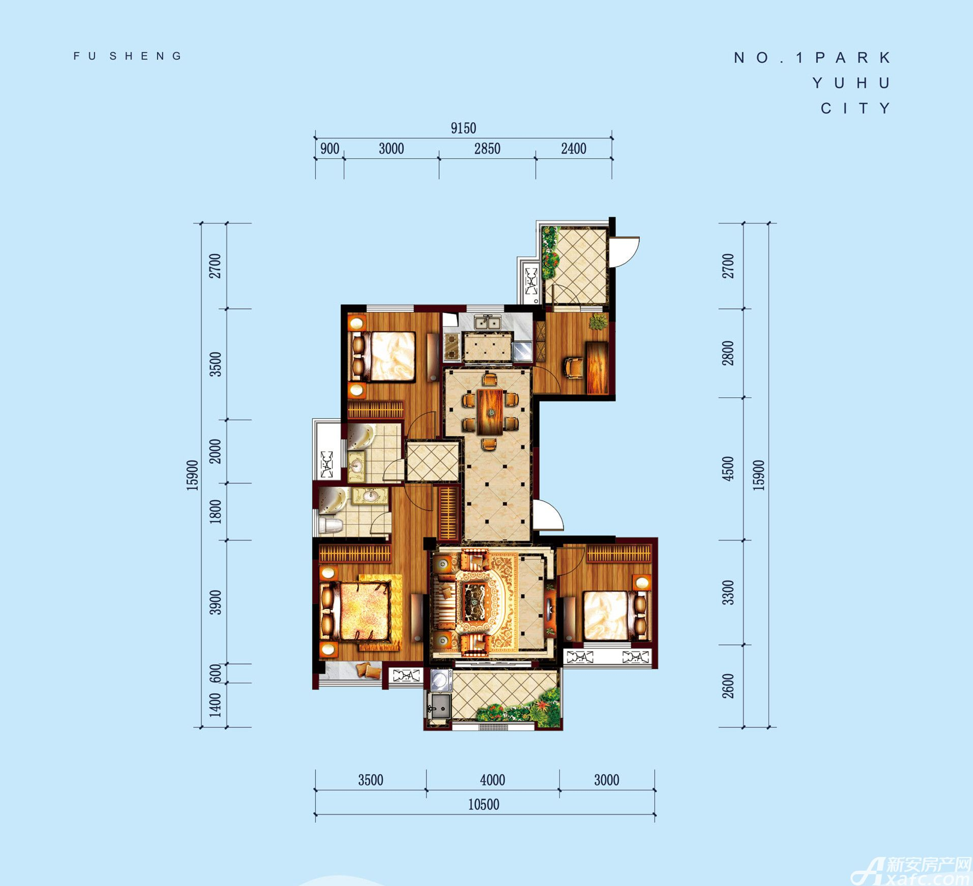 公园道B区御湖Q4室2厅125.6平米
