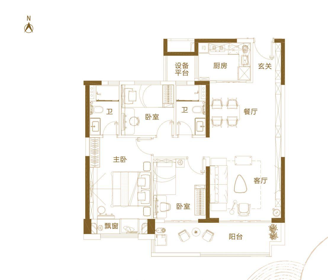 铜陵碧桂园A3室2厅120平米