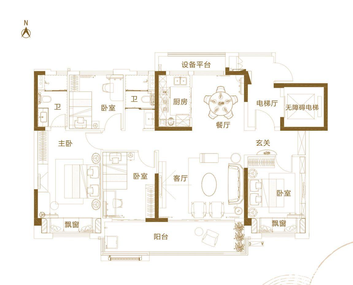 铜陵碧桂园B4室2厅140平米