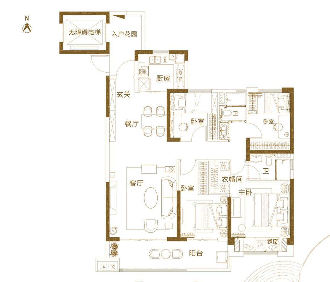 铜陵碧桂园C4室2厅142平米