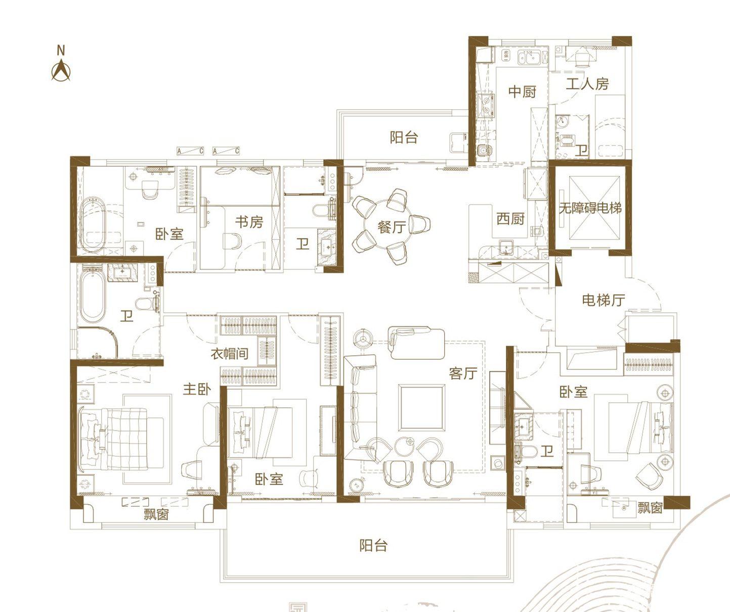 铜陵碧桂园E5室2厅215平米