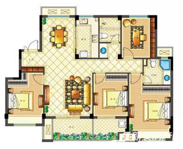 佳源都市B户型(洋房)4室2厅125平米