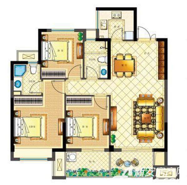 佳源都市G户型(高层)3室2厅105平米
