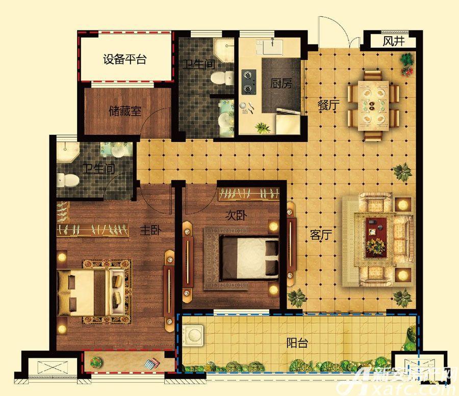 远大中国府玖珑府B2户型3室2厅108.15平米