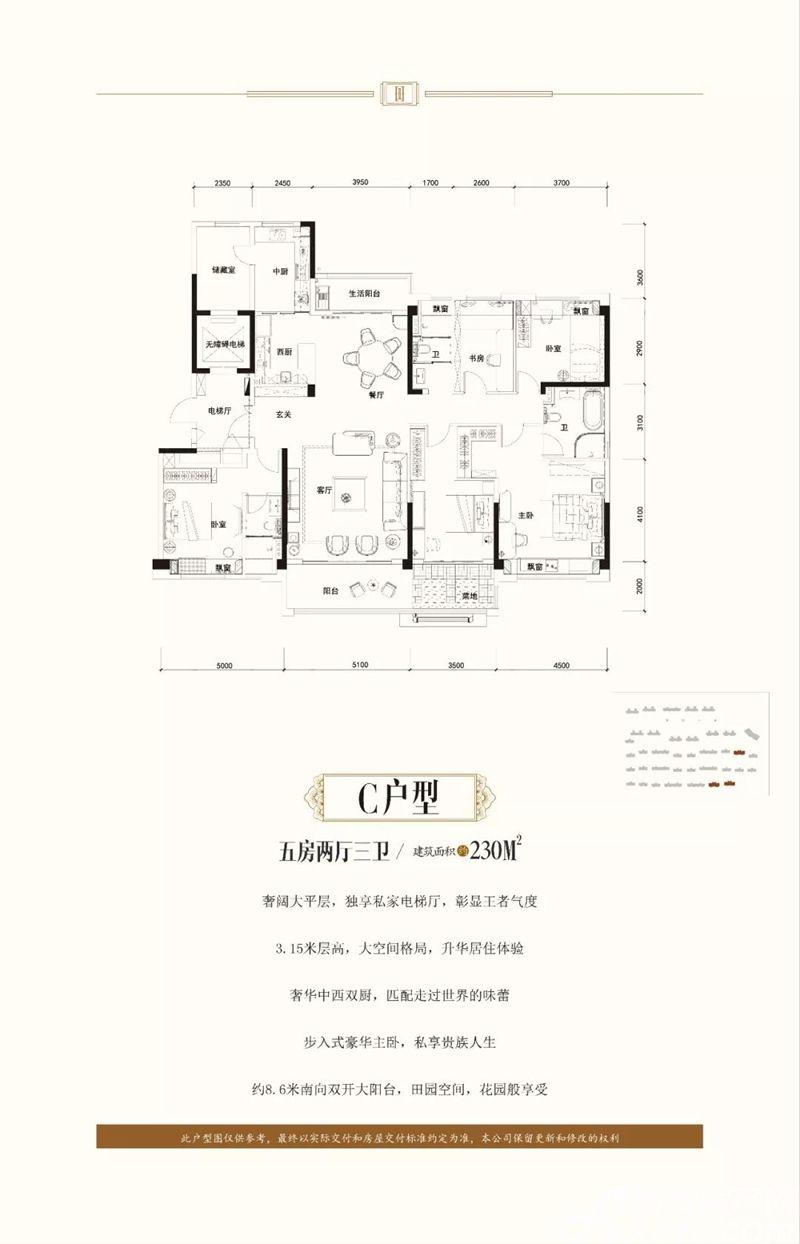 淮南碧桂园C户型5室2厅230平米