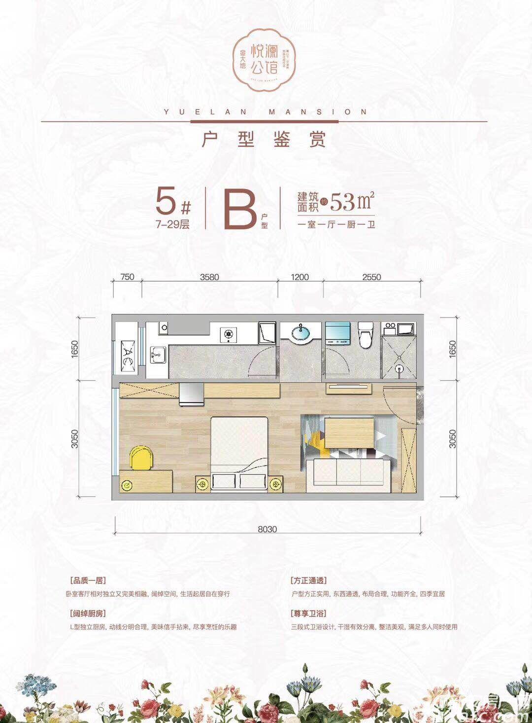 金大地悦澜公馆B户型1室1厅53平米