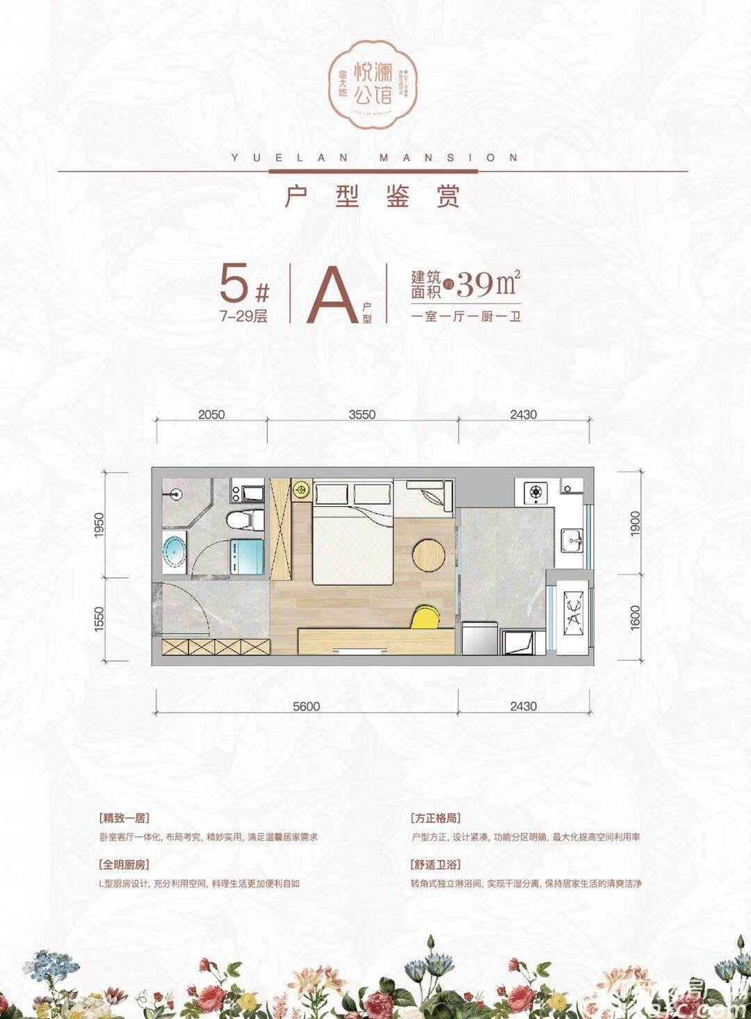 金大地悦澜公馆A户型1室1厅39平米